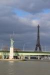 Tour Eiffeil et Statue de la Liberté, vue de la  Seine